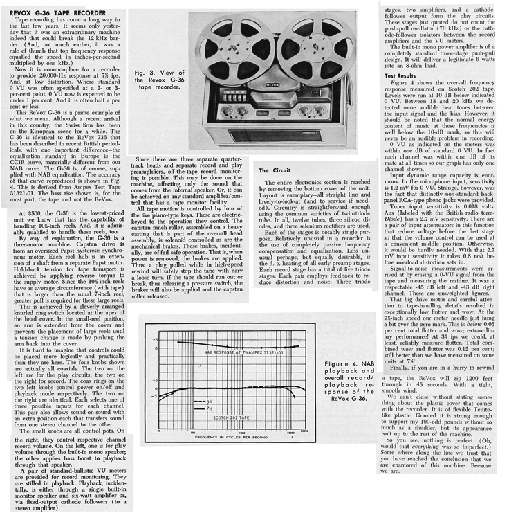 1966 review of the ReVox G36 tape recorder in Phantom Productions' vintage reel recorder collection